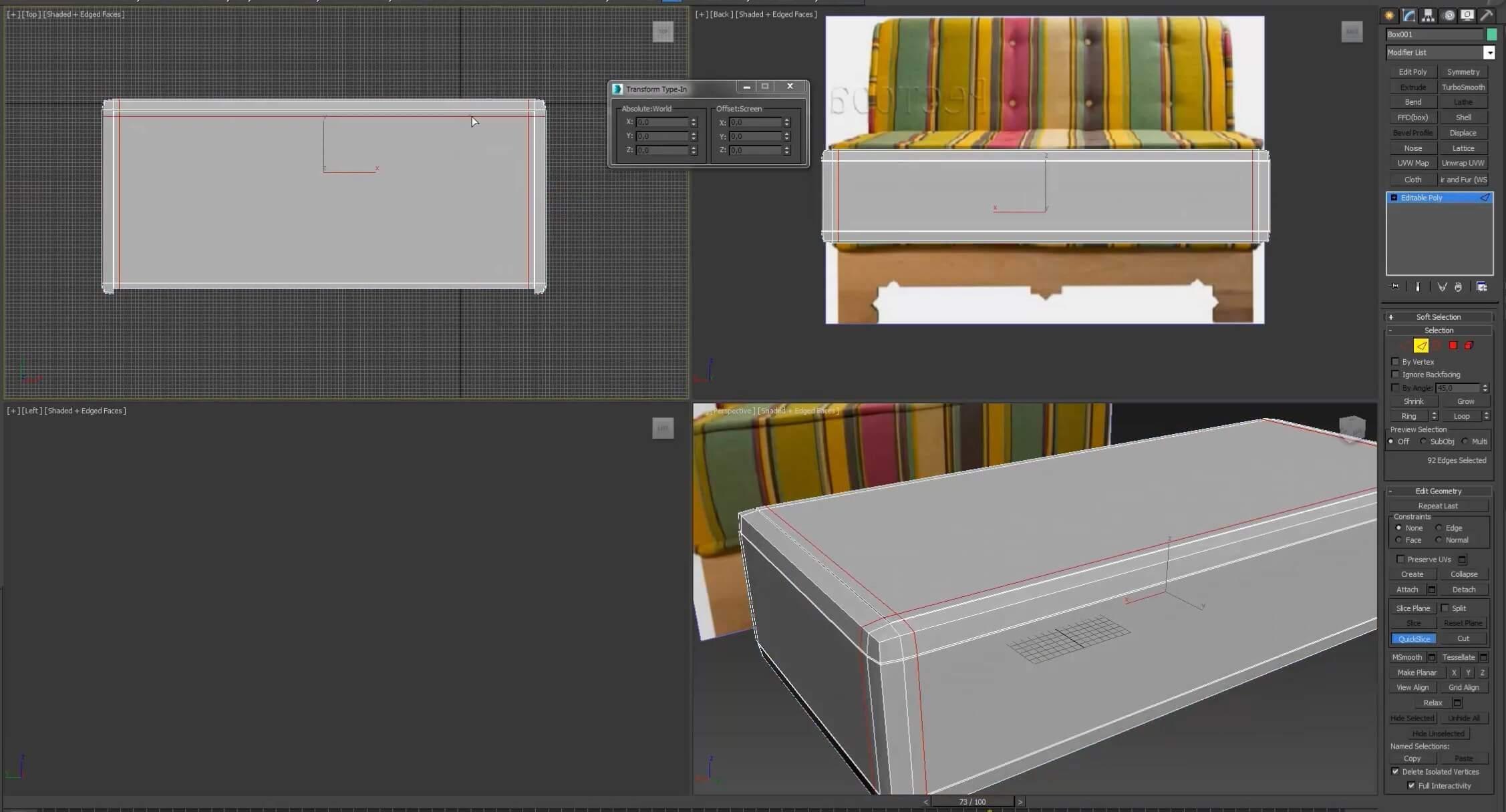 3d моделирование дивана Маракеш ресторация
