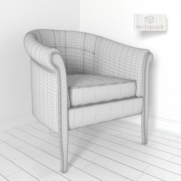 3d модель кресла Hadley Ресторация_grid
