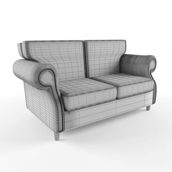 3d модель дивана Бурже Ресторация_grid