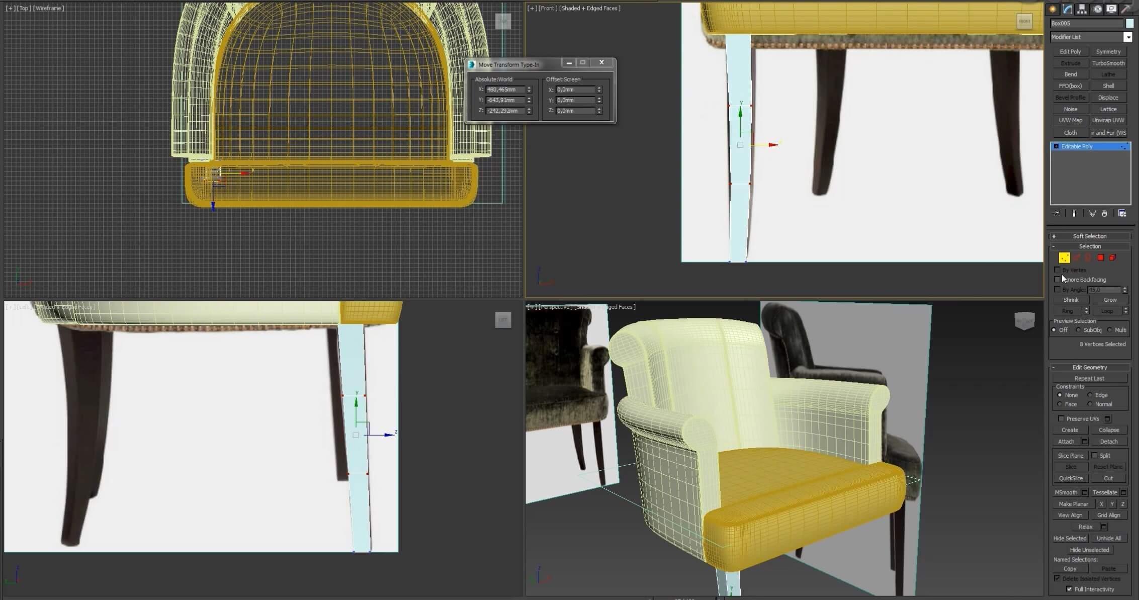 3d моделирование кресла Флорида ресторация
