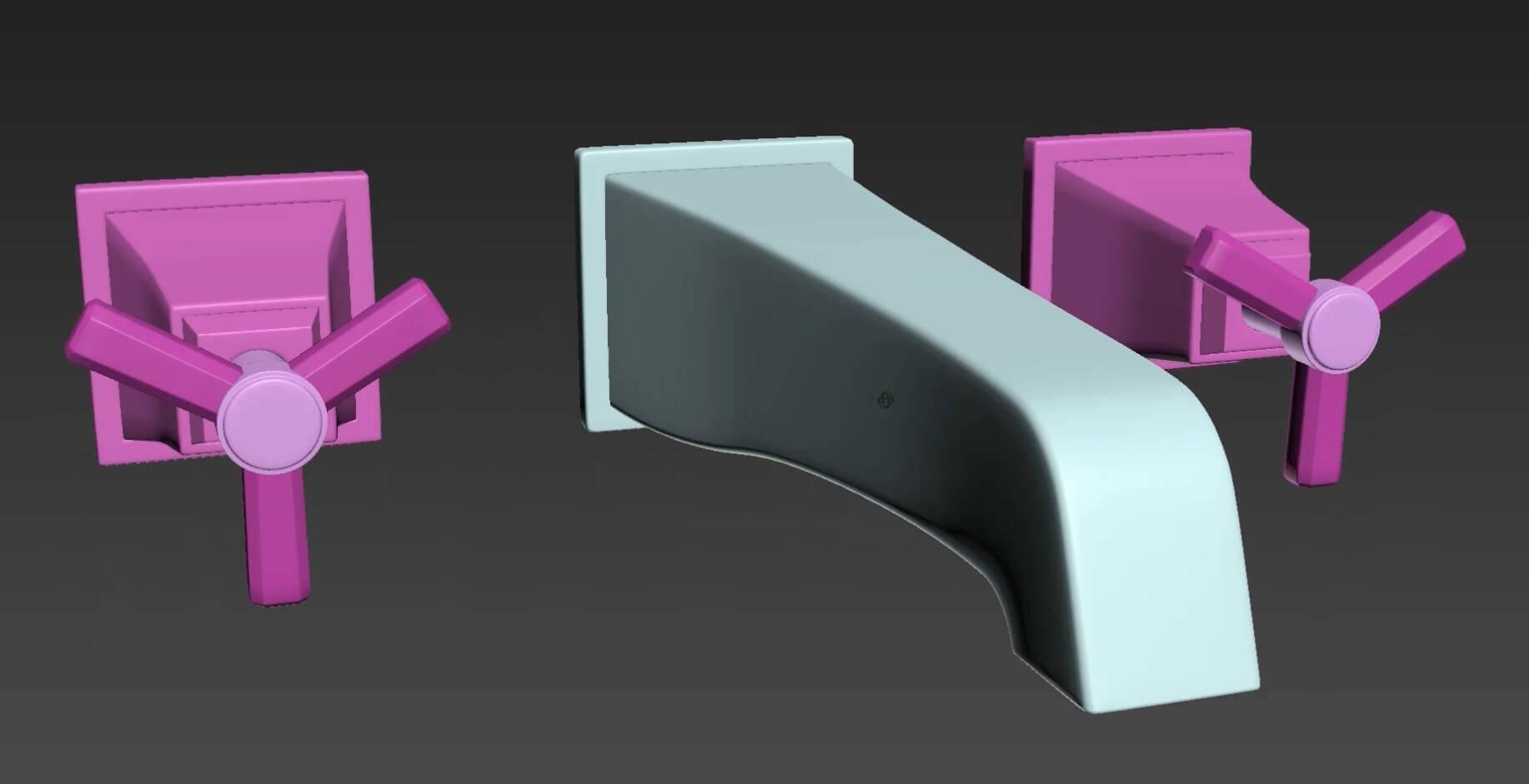 3d моделирование смесителя для ванны Devon&Devon 2TIME233MCR в 3dsMax