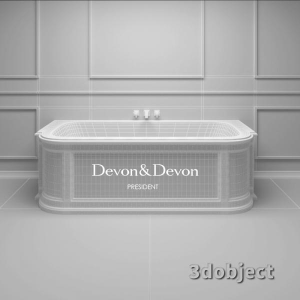 3d модель ванны president devon&devon_grid