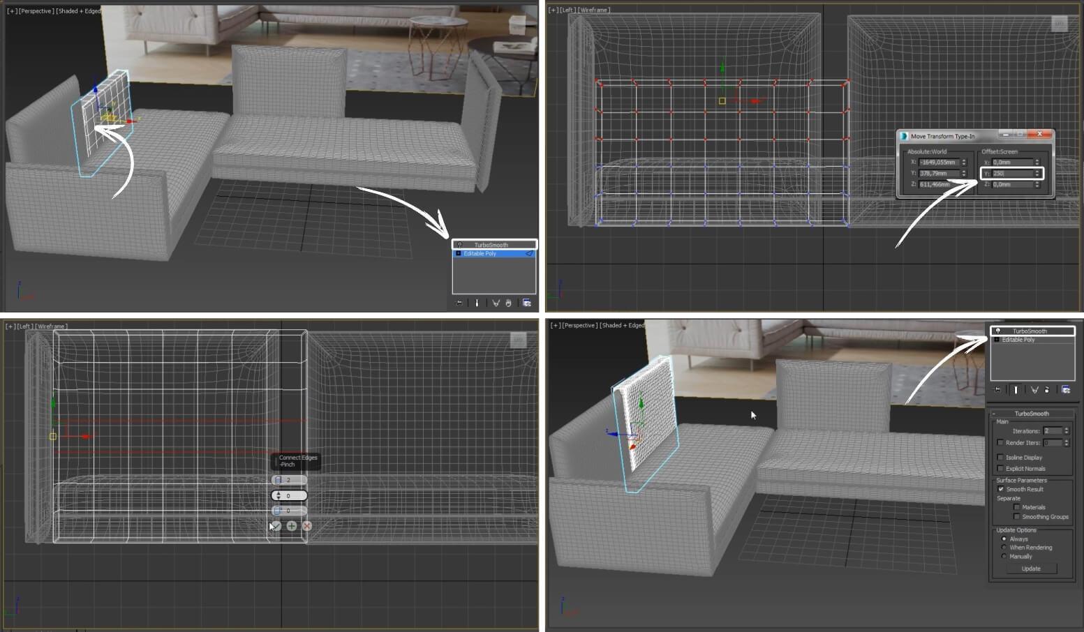3d моделирование дивана Bonaldo Alvar Sofa в 3dsMax, Marvelous Designer, ZBrush