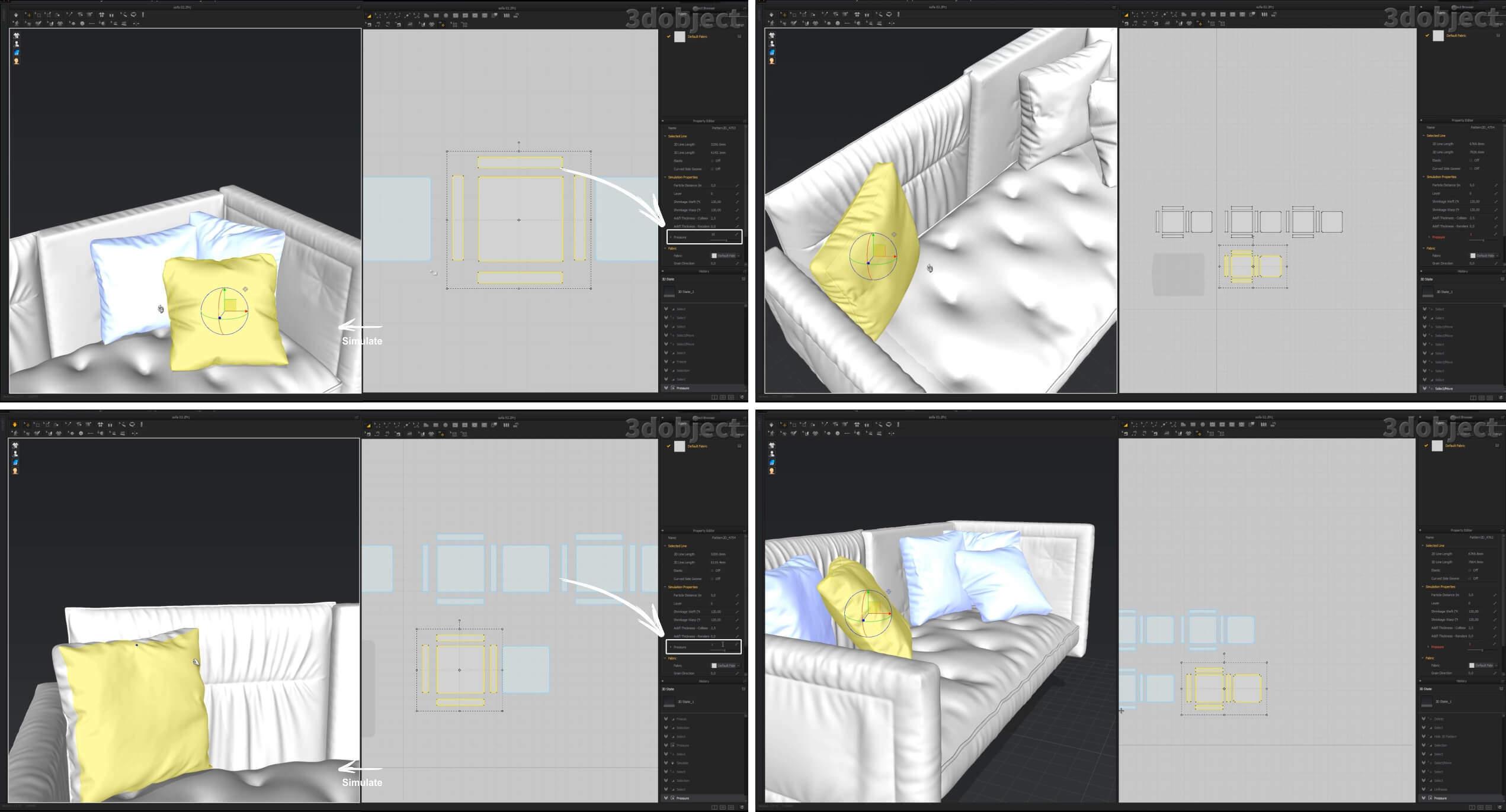 3d моделирование подушек для дивана Bonaldo Alvar Sofa в Marvelous Designer, ZBrush