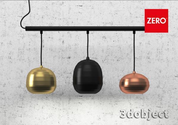 3d моделирование подвесного светильника Zero Pomi Trio_3dobject