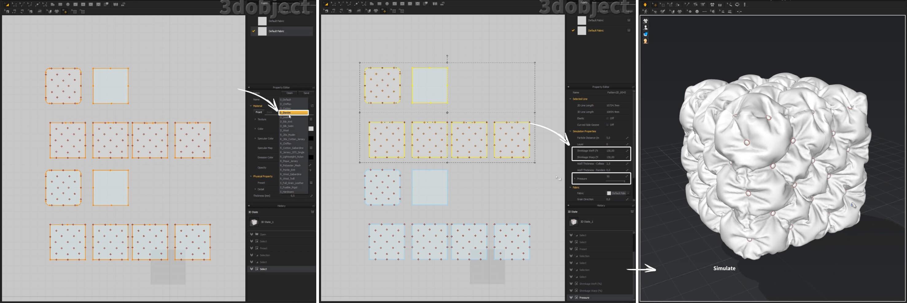 3d моделирование пуфиков в Marvelous Designer