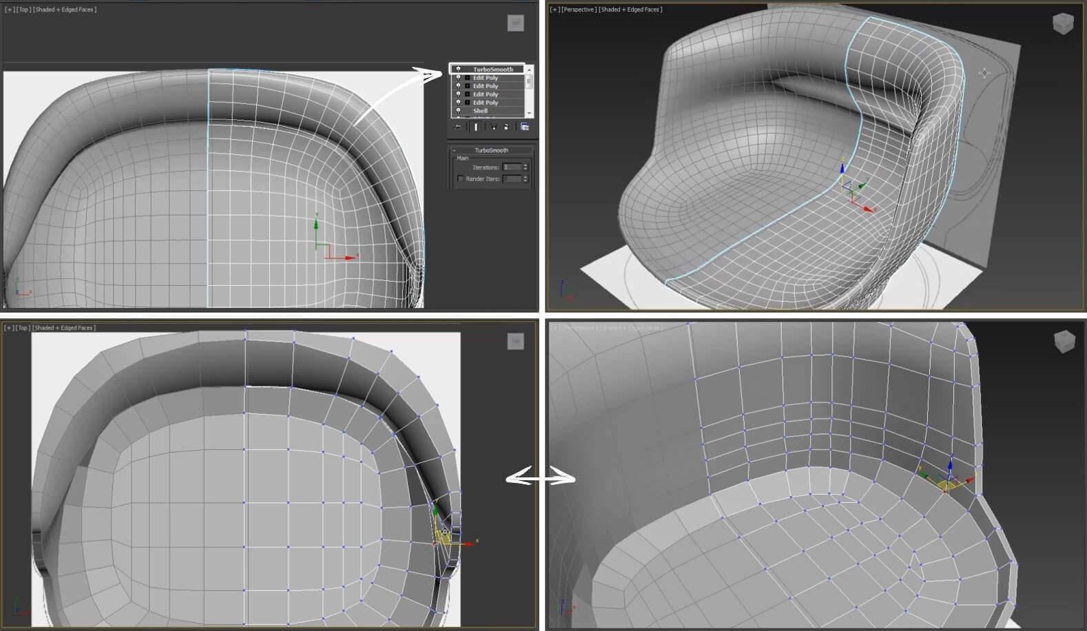 3d моделирование кресла Giorgetti all around в 3dsMax