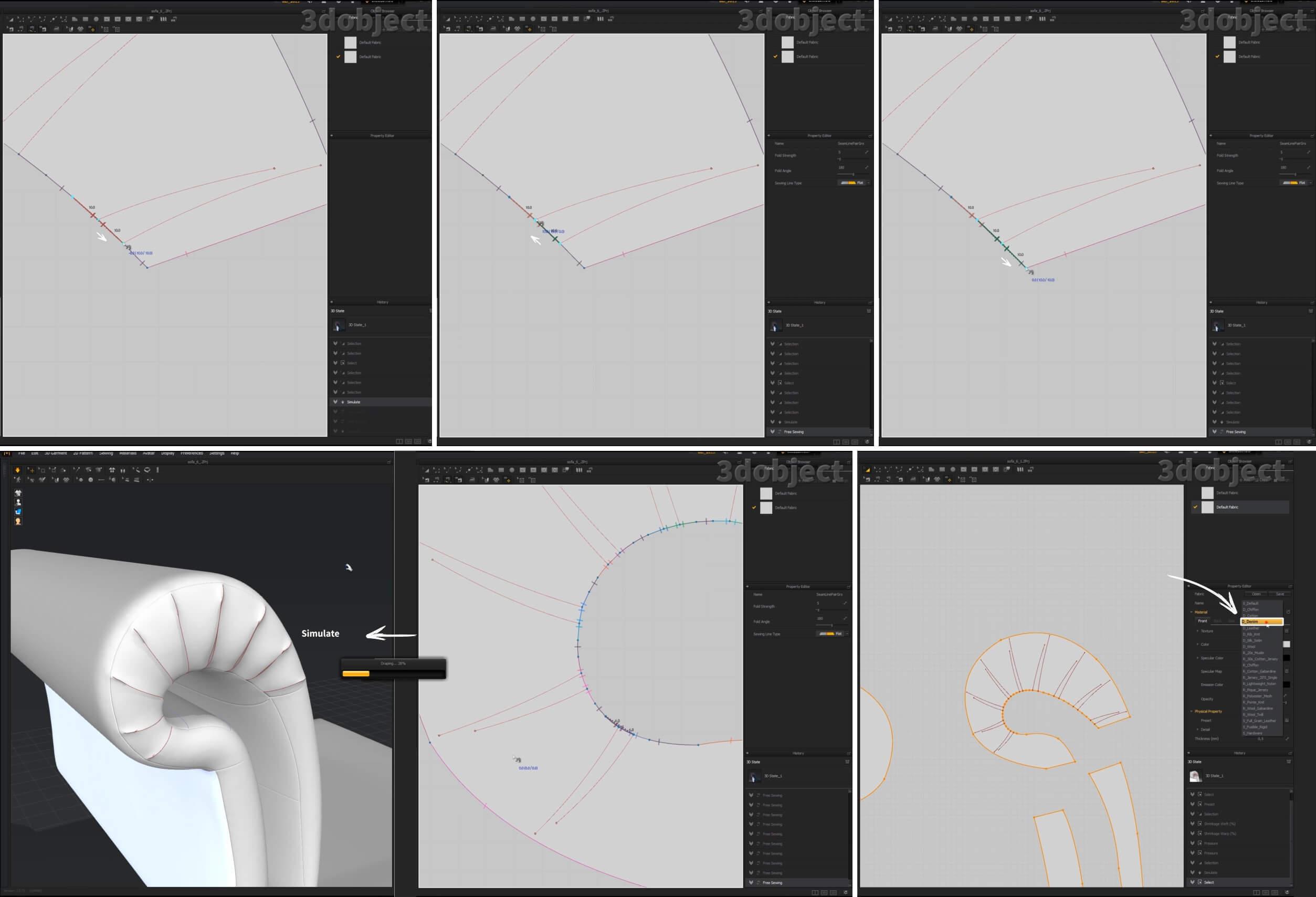 3d моделирование складок на подлокотнике дивана в Marvelous Designer