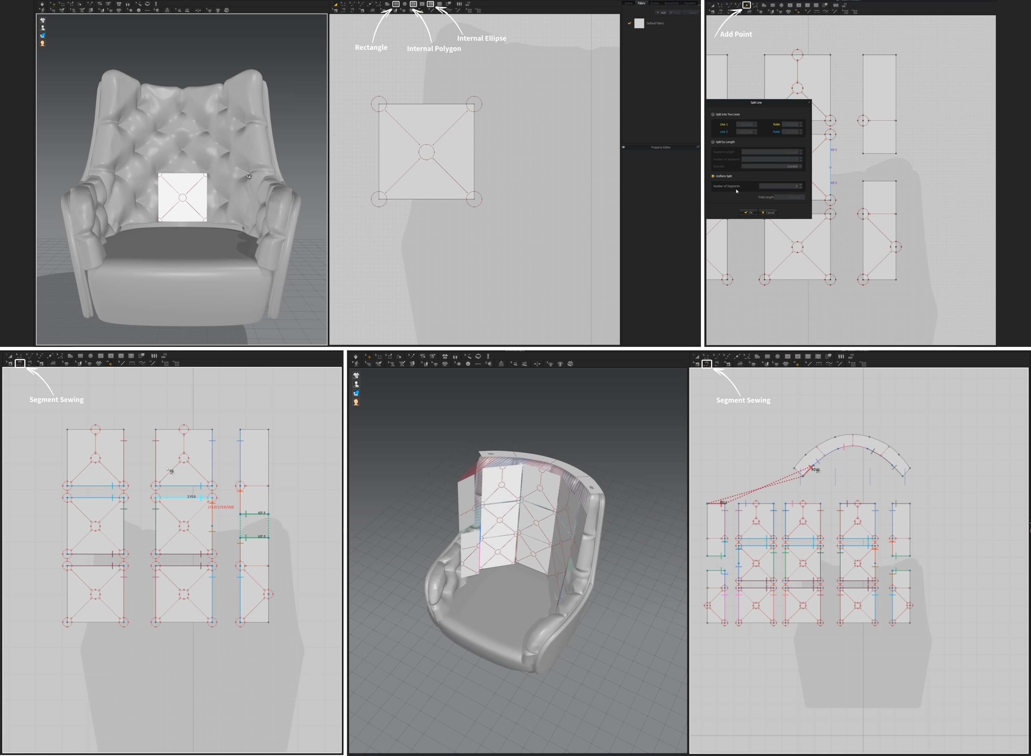 3d моделирование кресла Epoque Unique в 3dsMax, Marvelous Designer