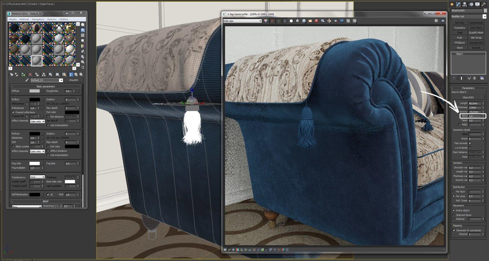 VRay Fur на примере кисточки из пряжи в 3dsMax