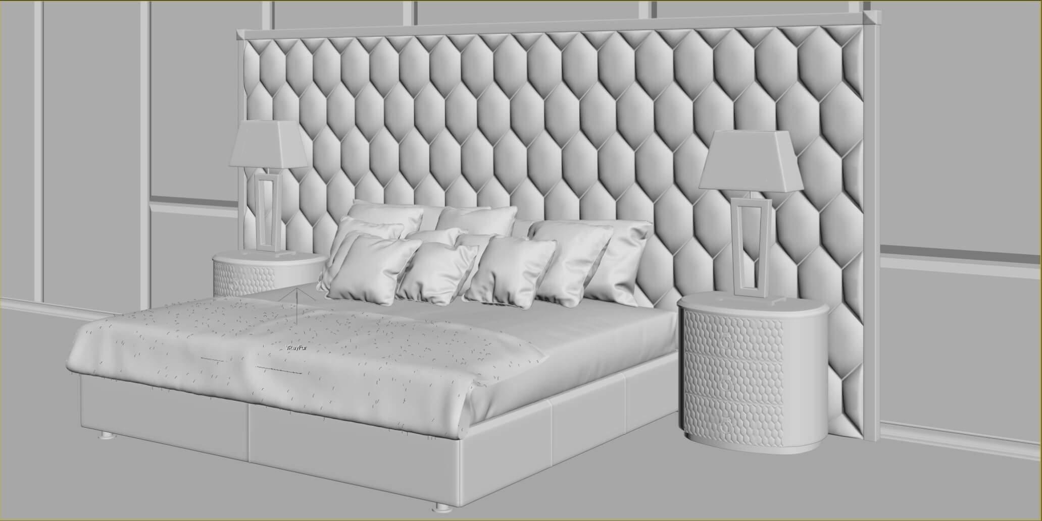 3d моделирование кровати DV home Envy Maxi, прикроватной тумбы Charlotte, настольной лампы Ritz в 3dsMax, Marvelous Designer