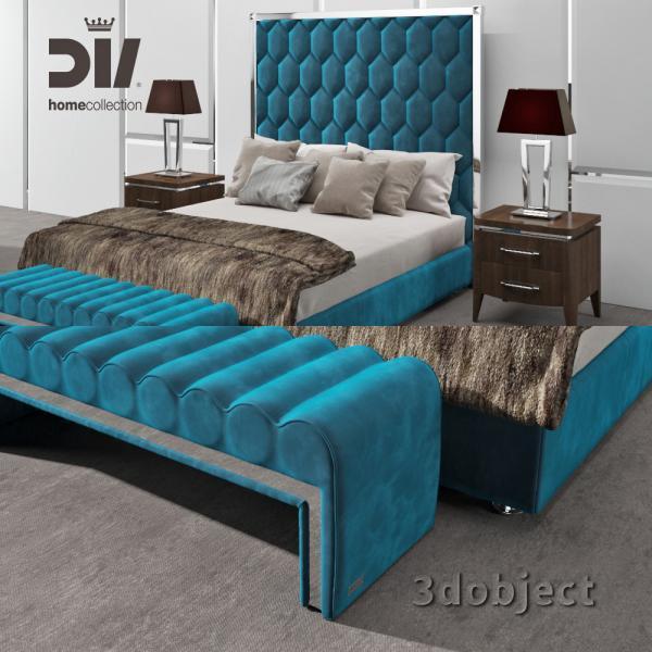 3d модель кровати DV home Envy, прикроватной тумбы Egoist