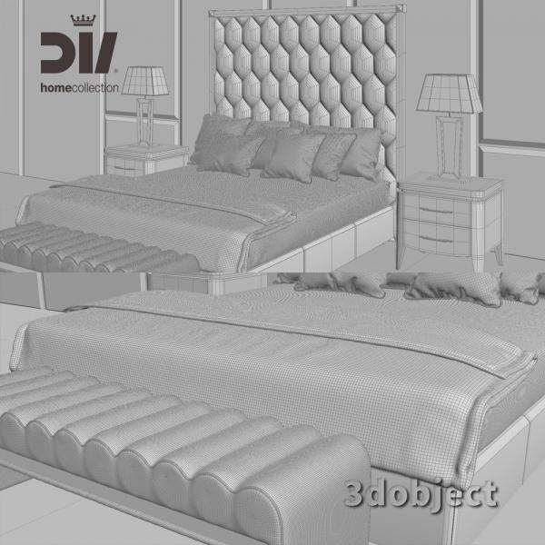 3d модель кровати DV home Envy grid, прикроватной тумбы Egoist