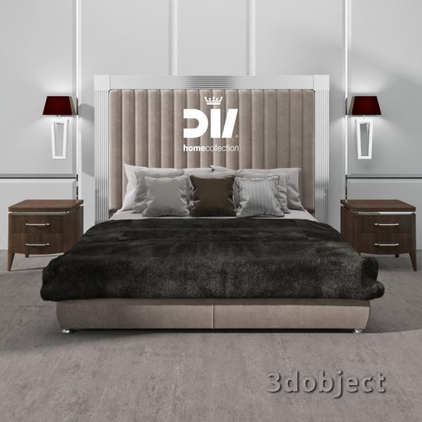 3d модель кровати DV home Windsor, прикроватной тумбы Egoist