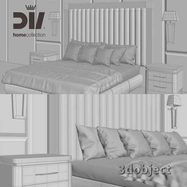 3d модель кровати DV home Windsor grid3d модель кровати DV home Windsor, прикроватной тумбы Egoist