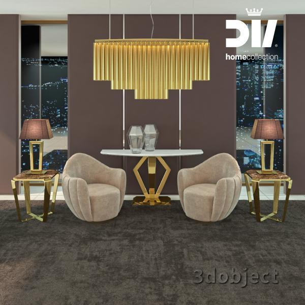 3d модель кресла и люстры DV home Hermes, кофейного столика, консоли и настольной лампы DV home Ritz