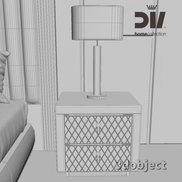3d модель кровати DV home Windsor, прикроватной тумбы Envy grid