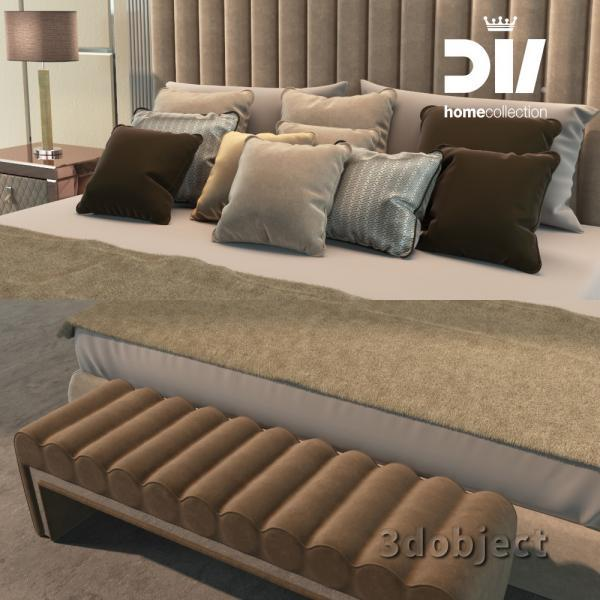 3d модель кровати DV home Windsor, прикроватной тумбы Envy