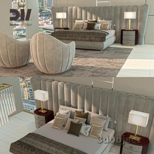 3d модель кровати DV home Hermes maxi, Прикроватной тумбы Charlotte, настольной лампы Windsor, кресла и люстры Hermes