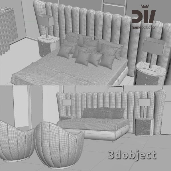 3d модель кровати DV home Hermes maxi, Прикроватной тумбы Charlotte, настольной лампы Windsor, кресла и люстры Hermes grid