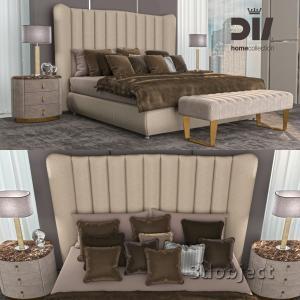 3d модель кровати DV home Hermes, прикроватной тумбы Vogue, настольной лампы Adler, прикроватной скамьи Ritz