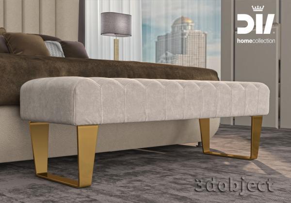 3d моделирование прикроватной скамьи DV home Ritz в 3dsMax и Marvelous Designer