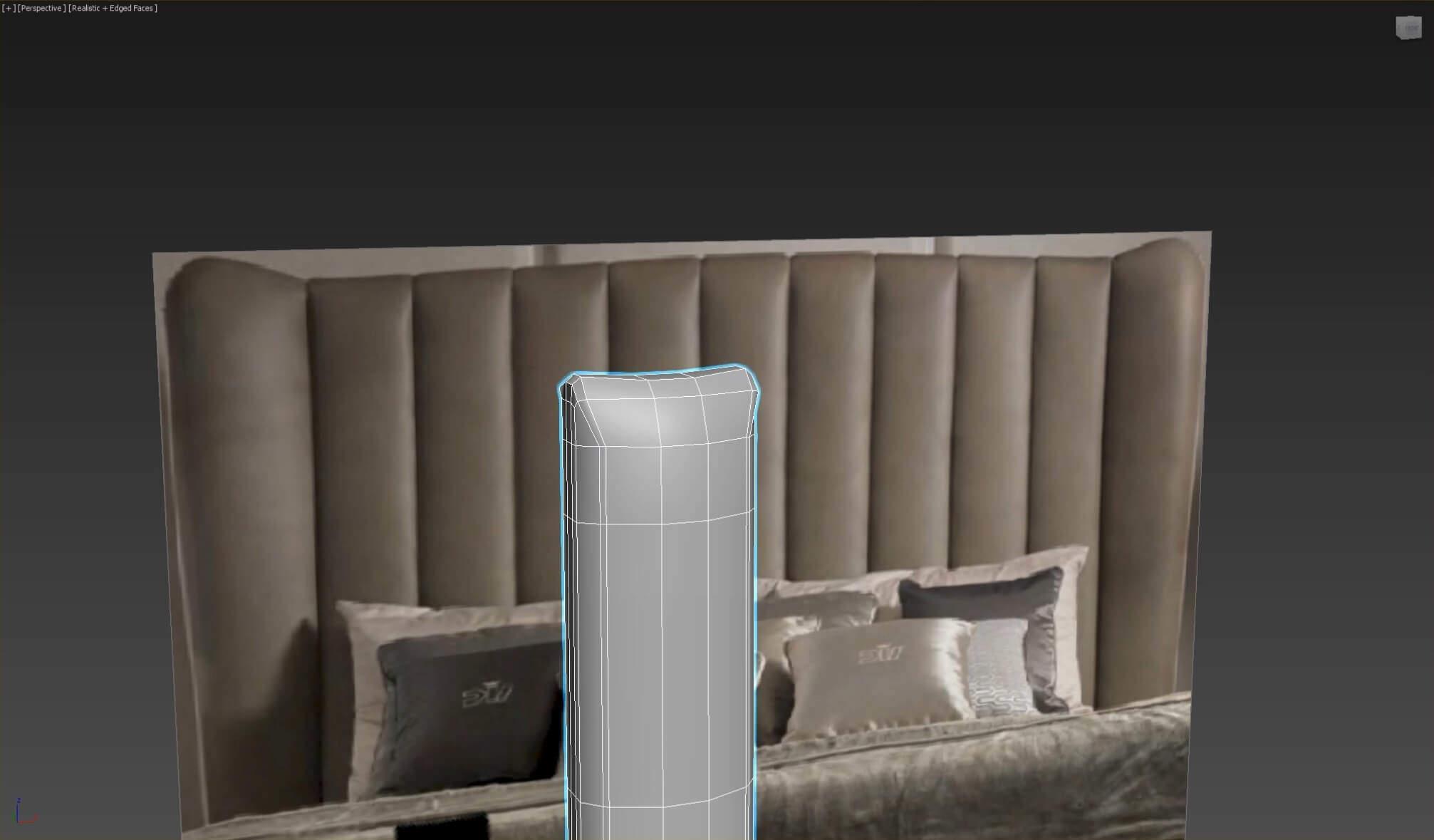 3d моделирование кожаного изголовья кровати DV home Hermes в 3dsMax_1