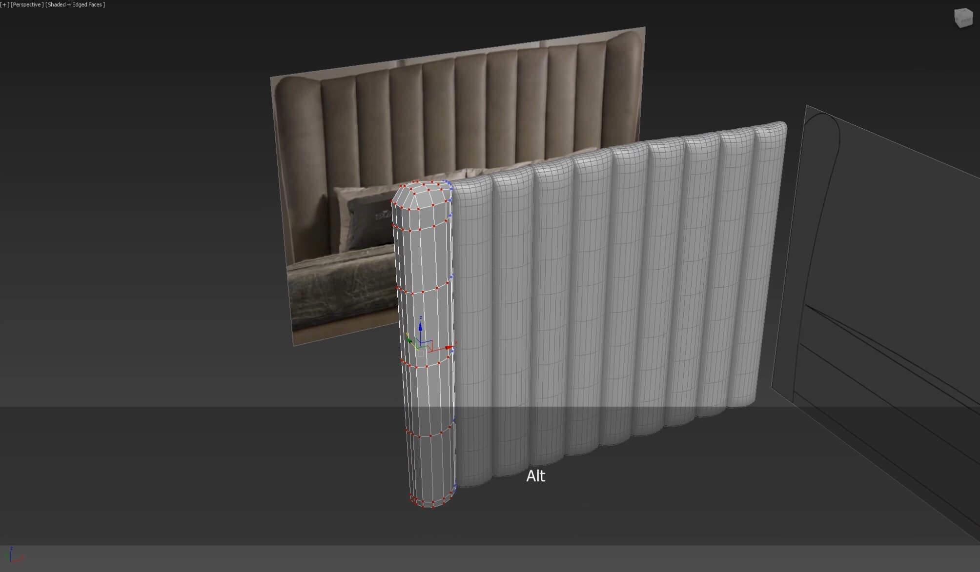 3d моделирование кожаного изголовья кровати DV home Hermes в 3dsMax_3