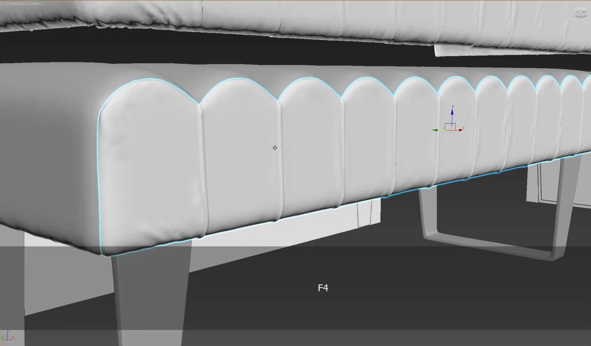 3d моделирование прикроватной скамьи DV home Ritz в 3dsMax и Marvelous Designer_3