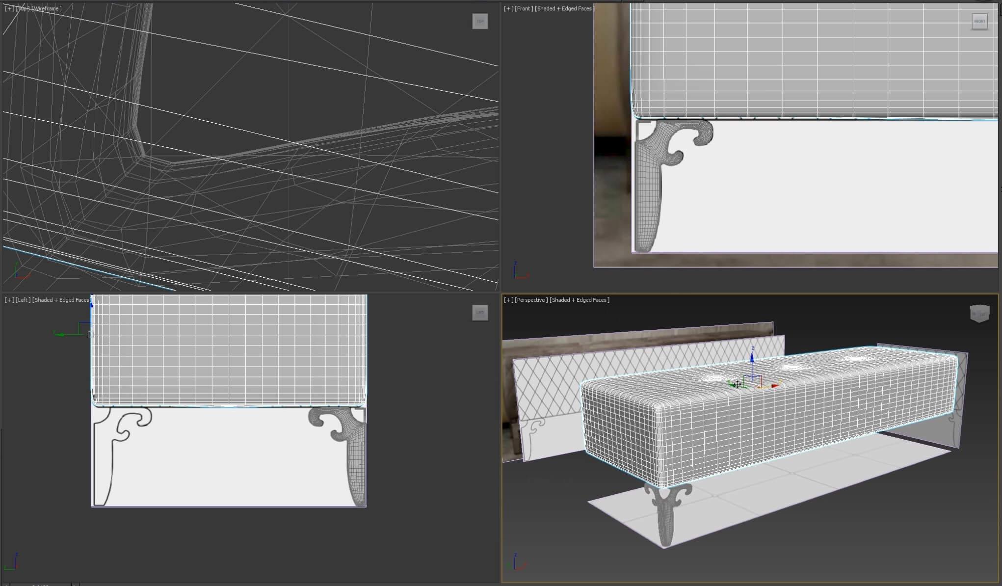 Как создать 3d модель прикроватной скамьи DV Home Quilt в 3dsMax, Marvelous Designer_1