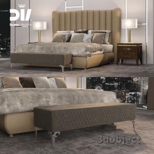 3d модель кровати DV home Hermes, прикроватной тумбы Egoist, настольной лампы Windsor, прикроватной скамьи Quilt