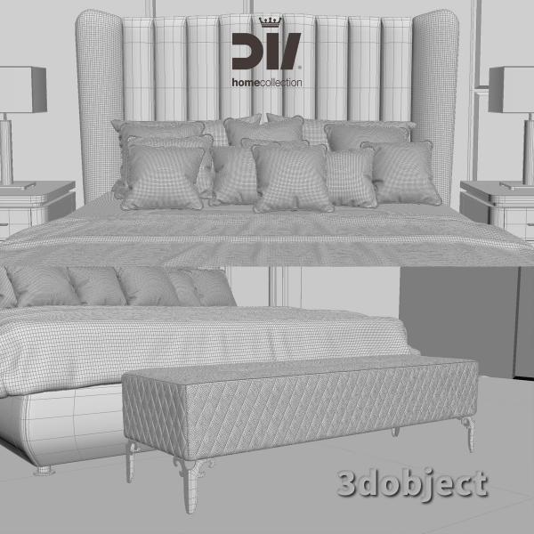 3d модель кровати DV home Hermes, прикроватной тумбы Egoist, настольной лампы Windsor, прикроватной скамьи Quilt_grid