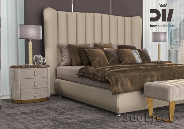 3d моделирование кожаного изголовья кровати DV home Hermes и прикроватной тумбы Vogue в 3dsMax и Marvelous Designer