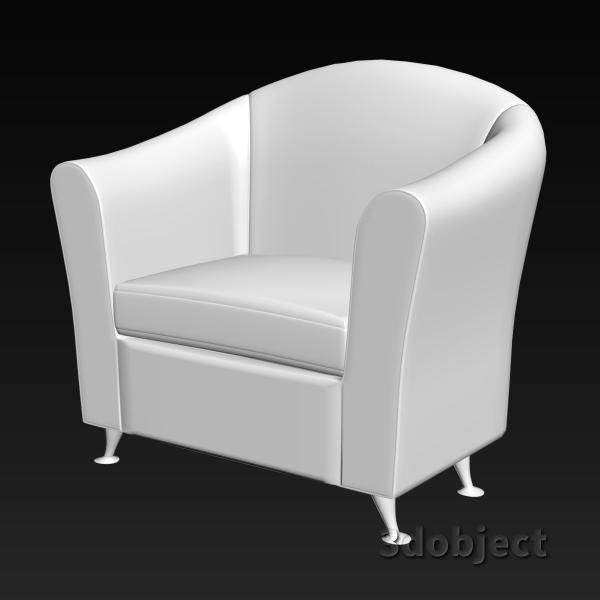 3d модель кресла мягкого, stl