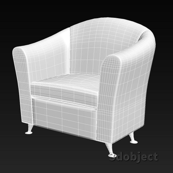 3d модель кресла мягкого_grid, stl