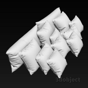 3d модель мягких подушек для кровати