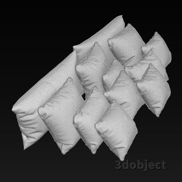 3d модель мягких подушек для кровати_grid