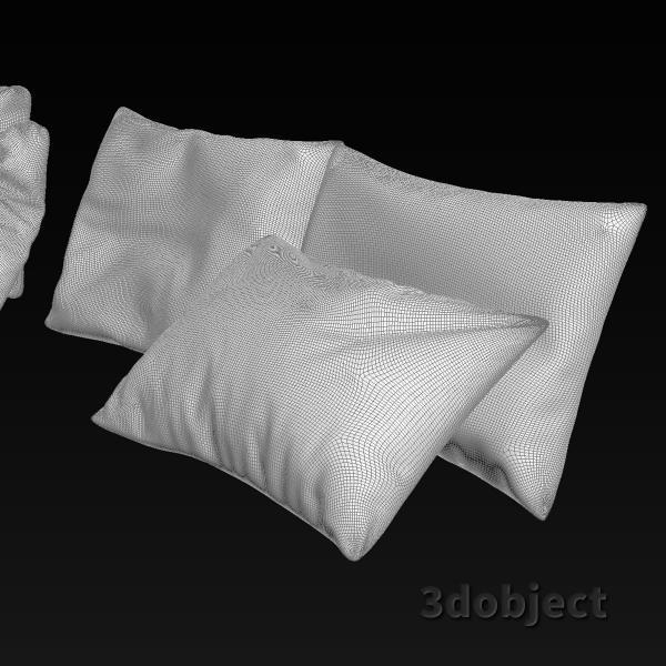 3d модель мягких подушек для дивана_grid