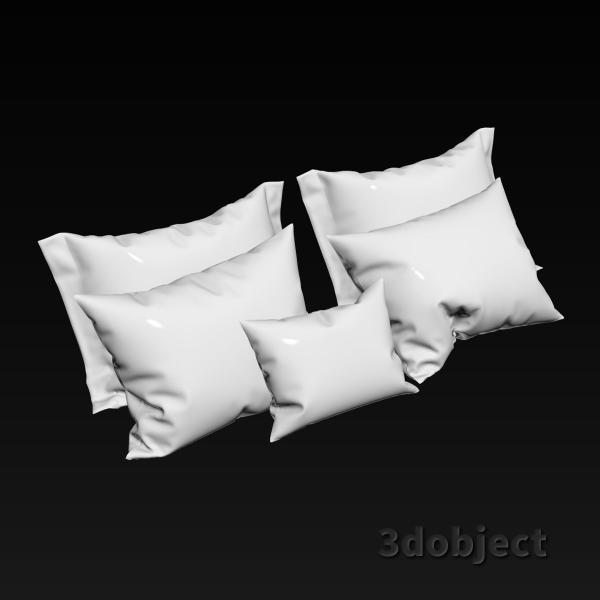 3d модель мягких подушек с оборками