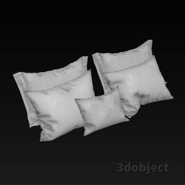 3d модель мягких подушек с оборками_grid
