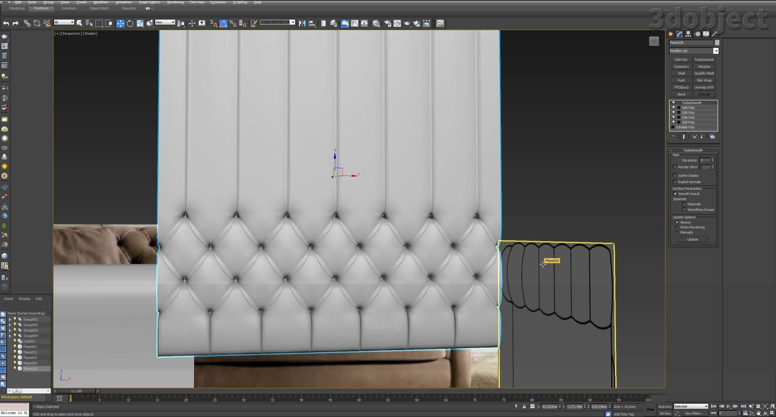 3d моделирование дивана DV Home Kensington в 3d max_11