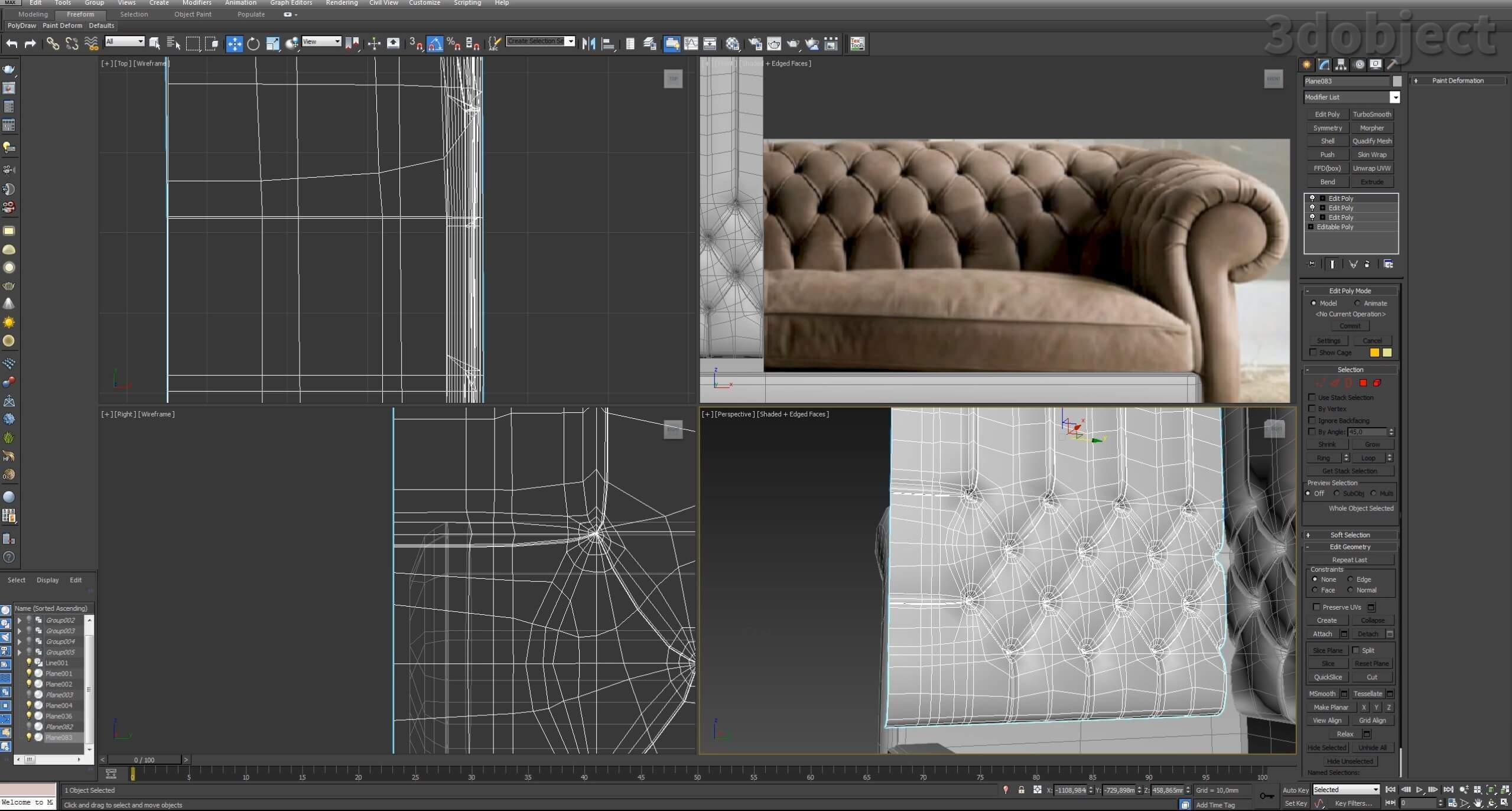3d моделирование дивана DV Home Kensington в 3d max_12
