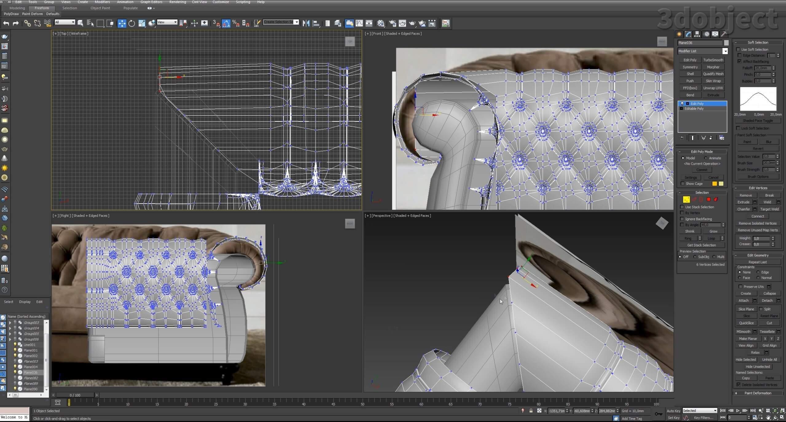 3d моделирование дивана DV Home Kensington в 3d max_14