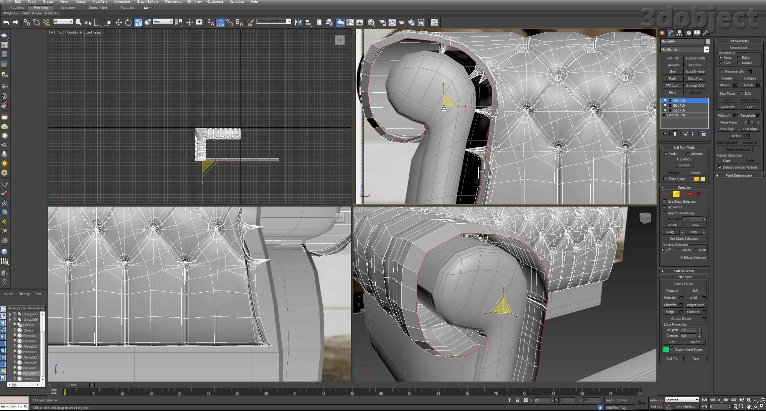 3d моделирование дивана DV Home Kensington в 3d max_18