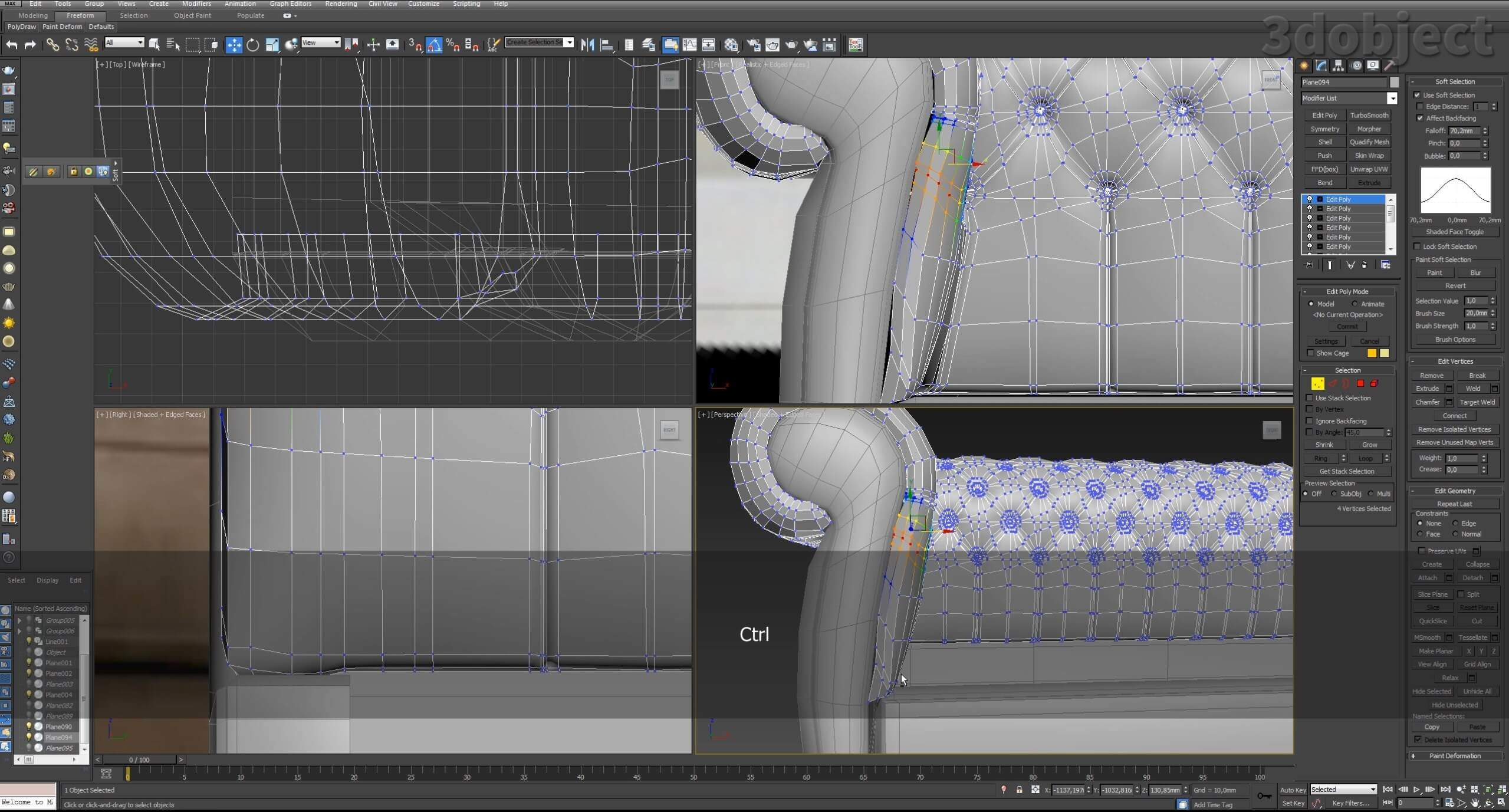 3d моделирование дивана DV Home Kensington в 3d max_19