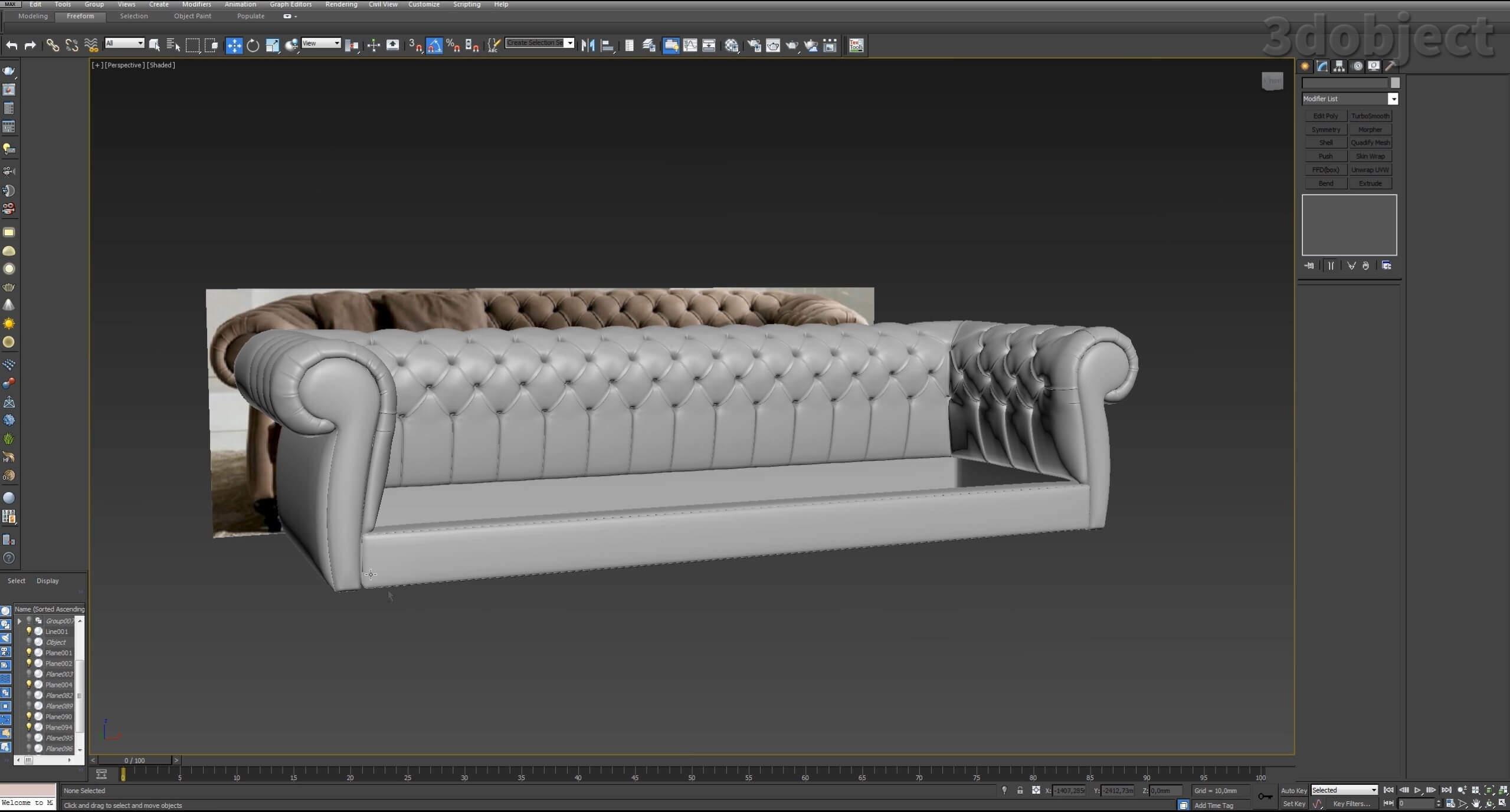 3d моделирование дивана DV Home Kensington в 3d max_21