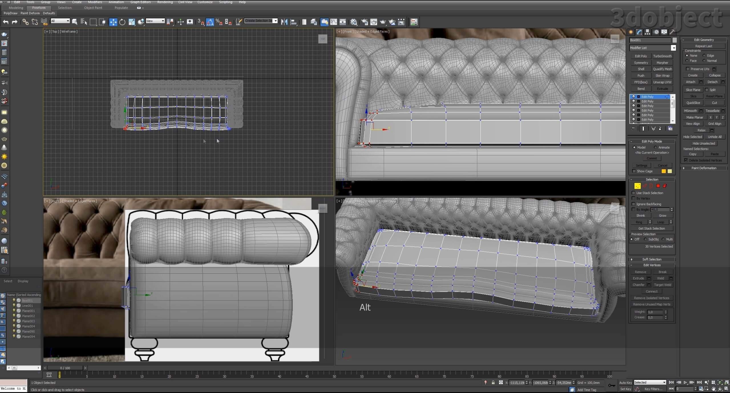 3d моделирование дивана DV Home Kensington в 3d max_22