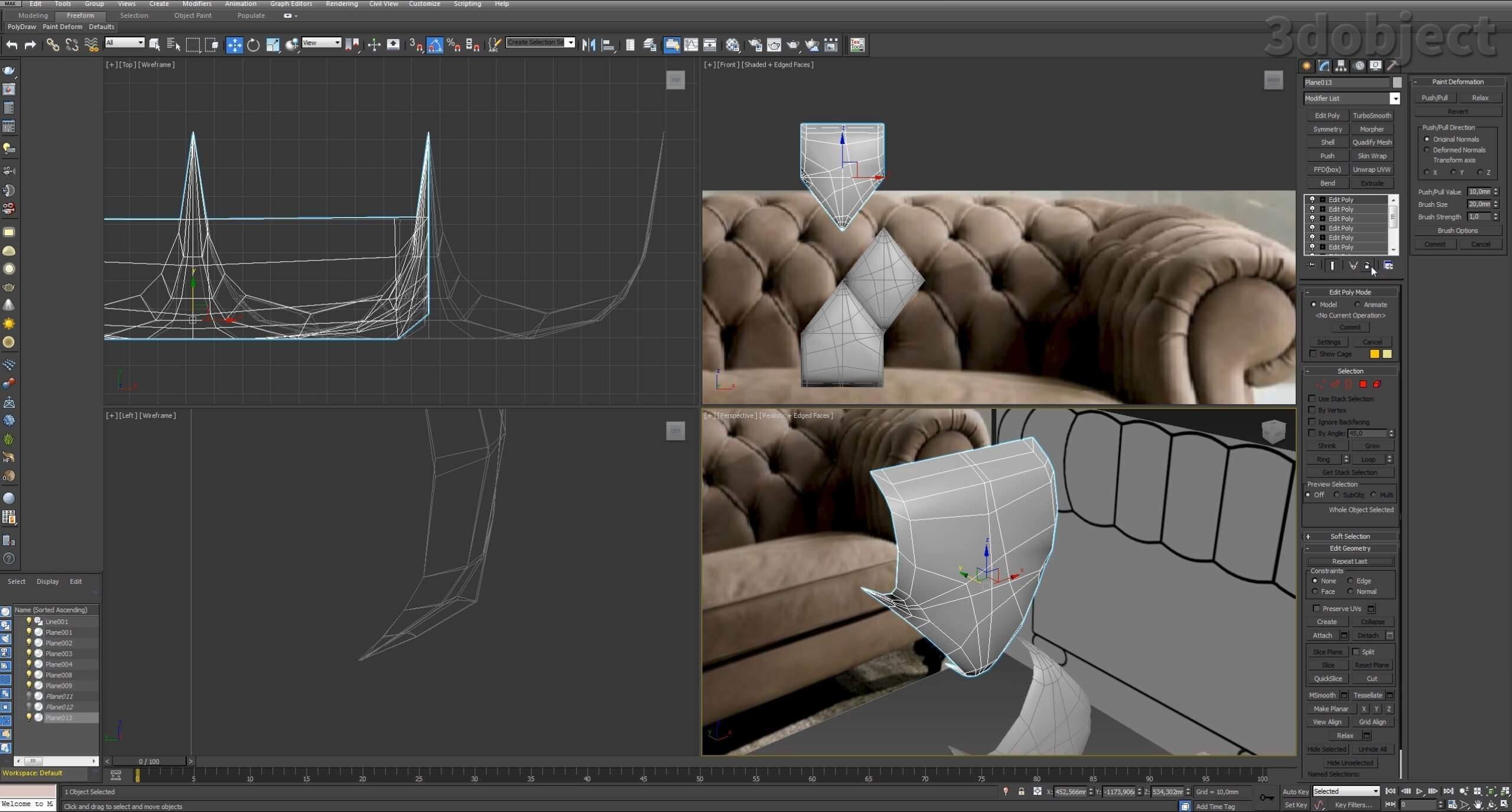 3d моделирование дивана DV Home Kensington в 3d max_6