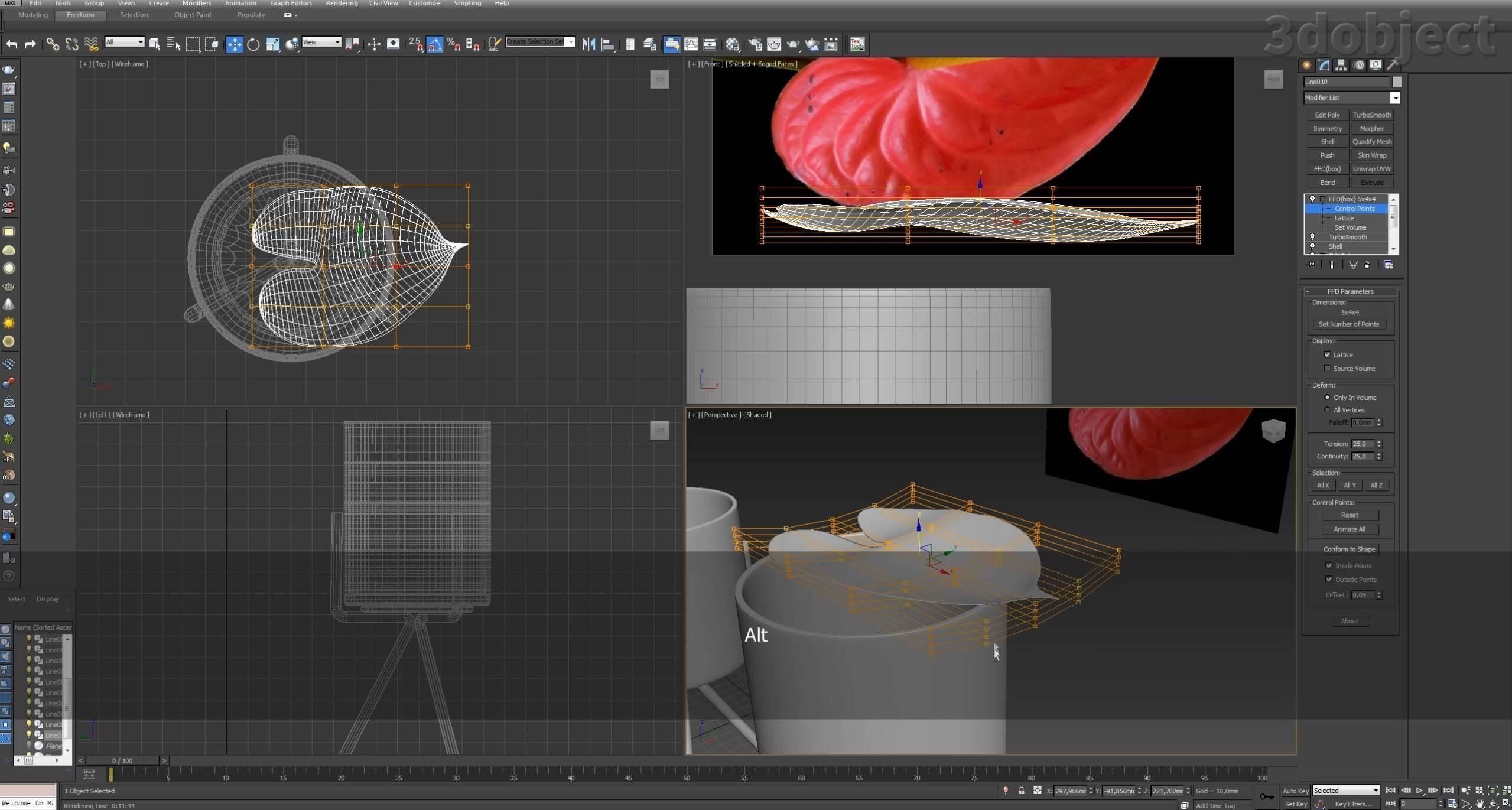 Моделирование цветов в 3d max_3