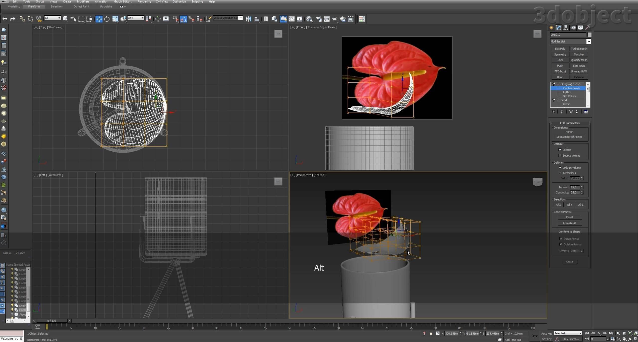 Моделирование цветов в 3d max_5